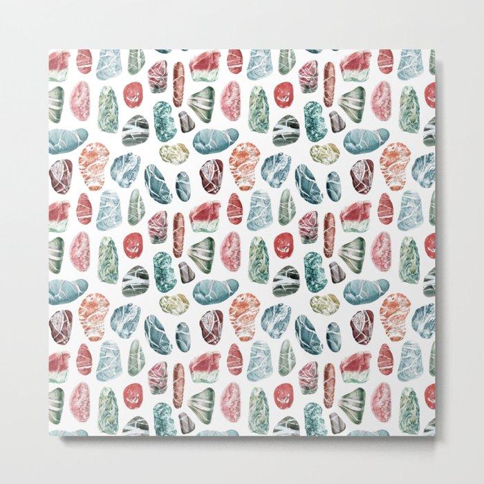 Coral Sea Pebbles Pattern Metal Print