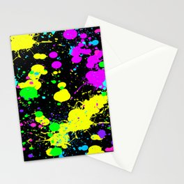 Neon Paint Splatter Stationery Cards