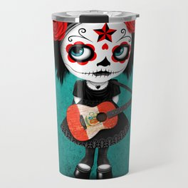 Day of the Dead Girl Playing Peruvian Flag Guitar Travel Mug