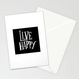 Live Happy: black Stationery Cards