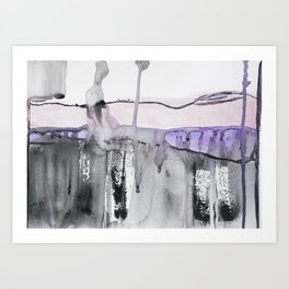 Pastel pink grey, abstract watercolor, washed colors, mixed media Art Print