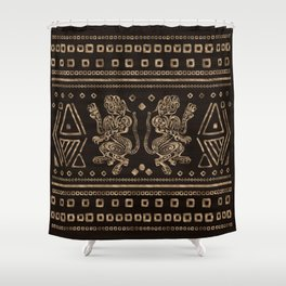 Aztec Jaguars and Ornaments - Gold Shower Curtain