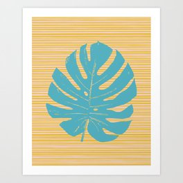 Monstera in Turquoise and Gold Art Print