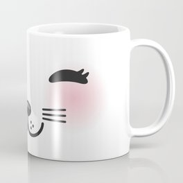 Kawaii funny cat with pink cheeks and winking eyes on white background Coffee Mug
