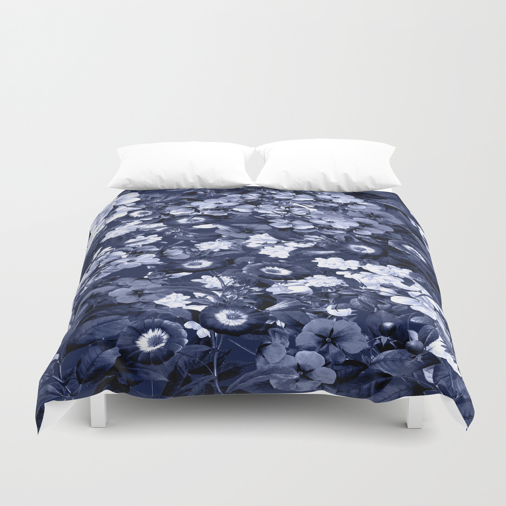 Bohemian Floral Nights In Navy Duvet Cover by Naturemagick DUV7123035