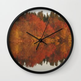 Colorful autumn trees reflection in the lake Wall Clock