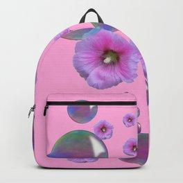 PINK-PURPLE FLOATING HOLLYHOCKS & SOAP BUBBLES PINK  ART Backpack