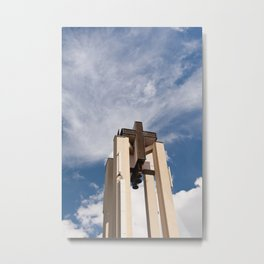 High church turret cross symbol Metal Print