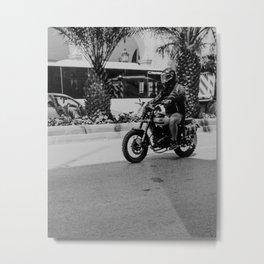 Black & White Motorbike Metal Print