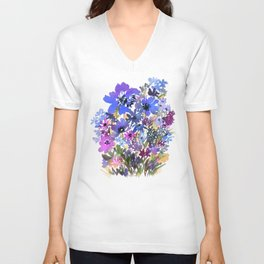 Heavenly Blues and Purples Unisex V-Neck