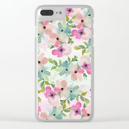 Modern teal pink watercolor hand painted floral Clear iPhone Case