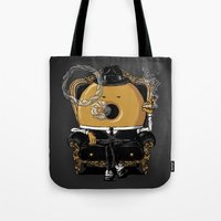 gangster Tote Bags featuring Gangster Donut by Javier Ramos