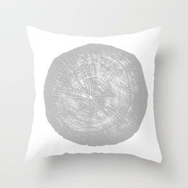 Realistic monotone photo of detailed cut tree slice with rings and organic texture Throw Pillow