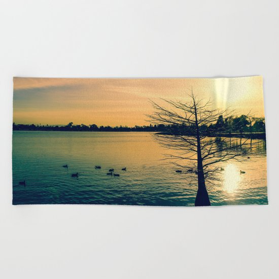 Going Home (Winter Lake at Dusk) Beach Towel