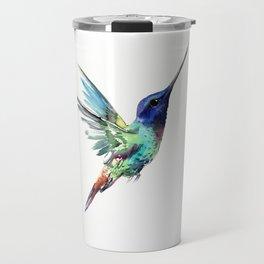 Flying Hummingbird flying bird, turquoise blue elegant bird minimalist design Travel Mug