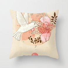 hummingbird & orchid Throw Pillow