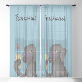 Famearaner (Blue Background) Sheer Curtain
