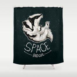 Space Badger by Devon Baker Shower Curtain