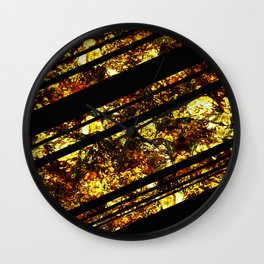 Gold Bars - Abstract, black and gold metallic, textured diagonal stripes pattern Wall Clock