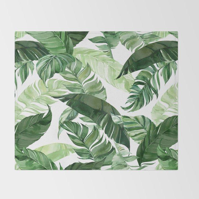 Green leaf watercolor pattern Throw Blanket
