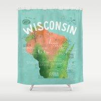 wisconsin Shower Curtains featuring Wisconsin Map by Stephanie Marie Steinhauer