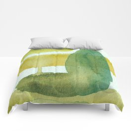 Green Stem Abstract Painting Comforters
