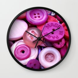 Pink buttons Wall Clock