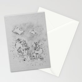 europe clustered houses ink and charcoal drawing Stationery Cards