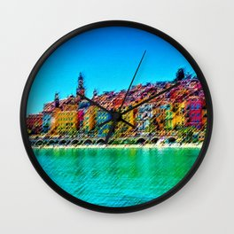 Menton, South of France Landscape Painting by Jeanpaul Ferro Wall Clock