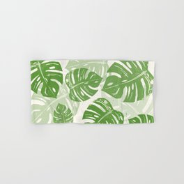 Linocut Monstera Leaf Pattern Hand & Bath Towel