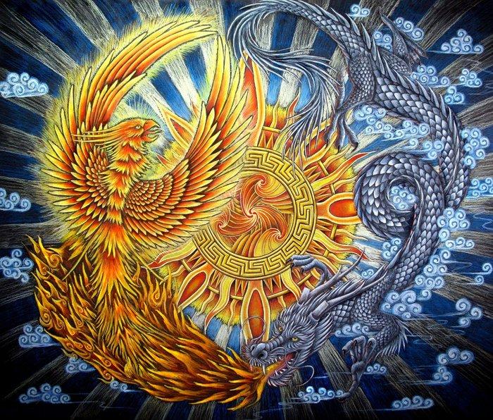 Chinese Phoenix and Dragon Mandala Metal Travel Mug