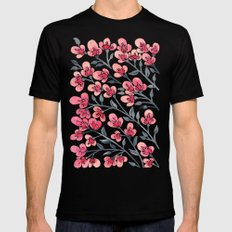 Cherry Blossoms – Pink & Black Palette Black LARGE Mens Fitted Tee
