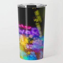 Rainbow Colored Bokeh Lights Techno Travel Mug