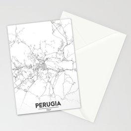 Minimal City Maps - Map Of Perugia, Italy. Stationery Cards