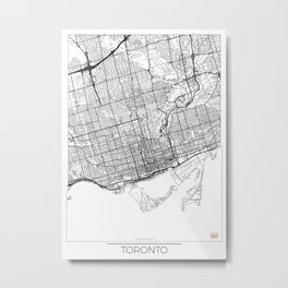 Toronto Map White Metal Print