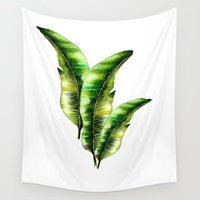 craftberrybush Wall Tapestries featuring Banana Leaf -watercolor  by craftberrybush