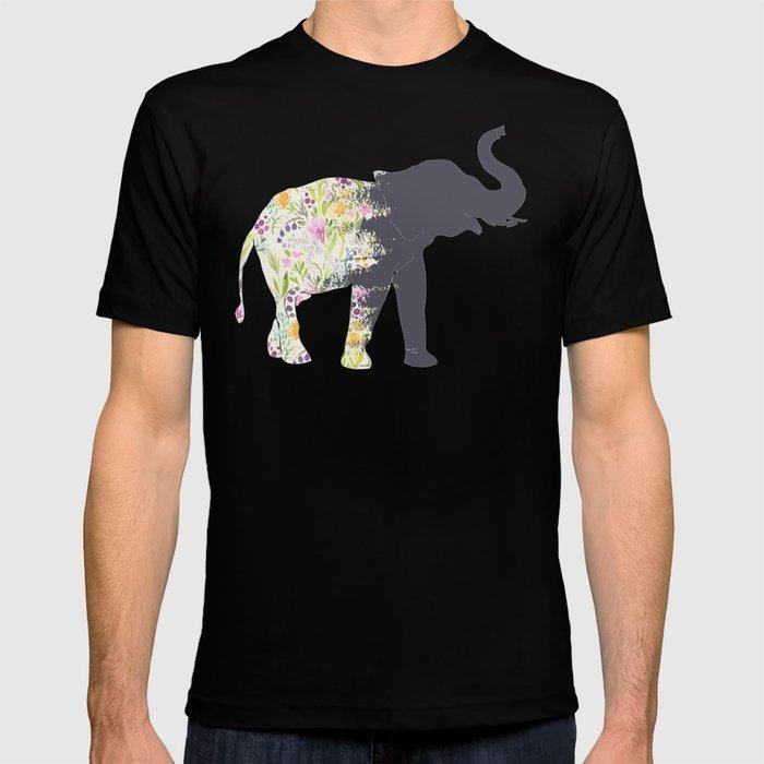 Floral Elephant Animal Print T-shirt