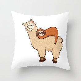 Cute & Funny Sloth Sleeping on Llama Friend Throw Pillow