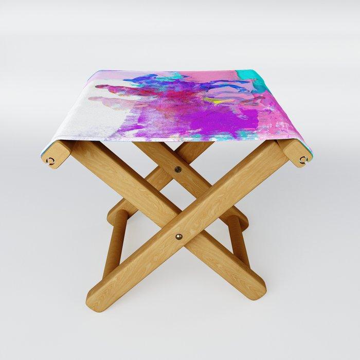 poloplayer abstract redblue Folding Stool