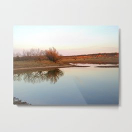 """Pond with Red Clay Bluffs"" Metal Print"