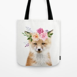 Baby Fox with Flower Crown Tote Bag