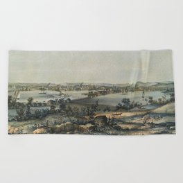 Vintage Pictorial Map of New Haven CT (1849) Beach Towel