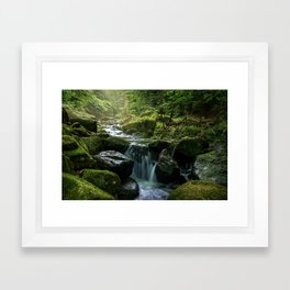 Flowing Creek, Green Mossy Rocks, Forest Nature Photography Framed Art Print