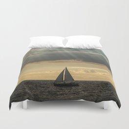 Sailboat Sailing in Lake Michigan beneath Sunbeams Duvet Cover