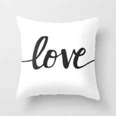 Love Black Throw Pillow