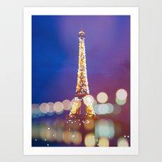 Eiffel tower by night Art Print
