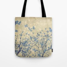 Vintage Duotone Indigo Blue and Cream Spring Dogwood Branches Tote Bag