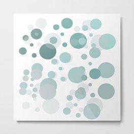 Abstract Aqua Mint Polka Dots Bubbles Metal Print