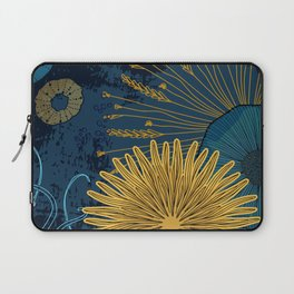 Navy floral background Laptop Sleeve