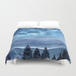 """Blue Hills"" watercolor landscape painting Duvet Cover"